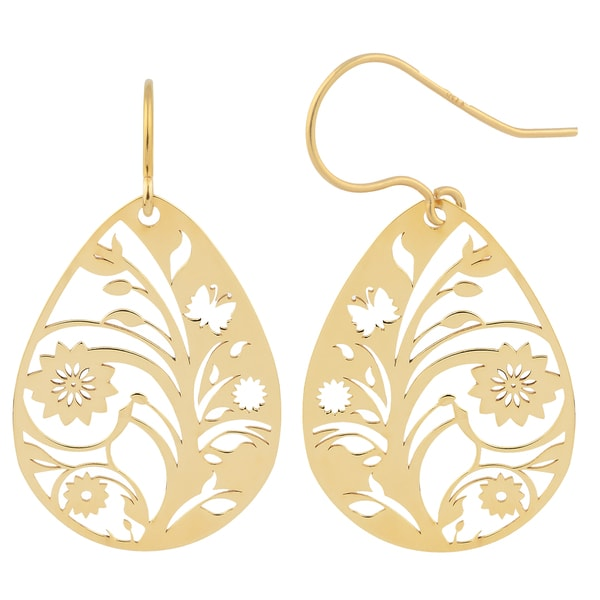 Fremada 10k Yellow Gold Flower Vine Teardrop Hook Earrings