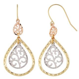 Fremada 10k Tri-color Gold Filigree Triple Teardrop Dangle Earrings