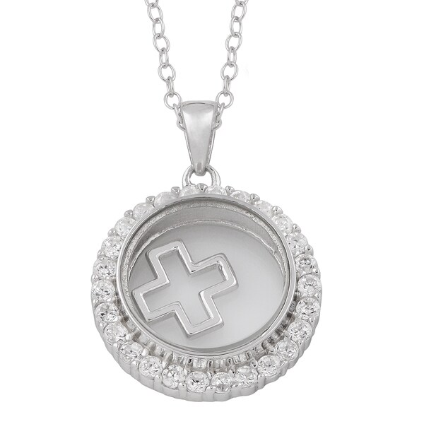 Fremada Rhodium Plated Sterling Silver and Cubic Zirconia Glass Case with Floating Cross Necklace