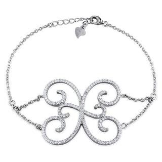 M by Miadora Sterling Silver Cubic Zirconia Charm Bracelet