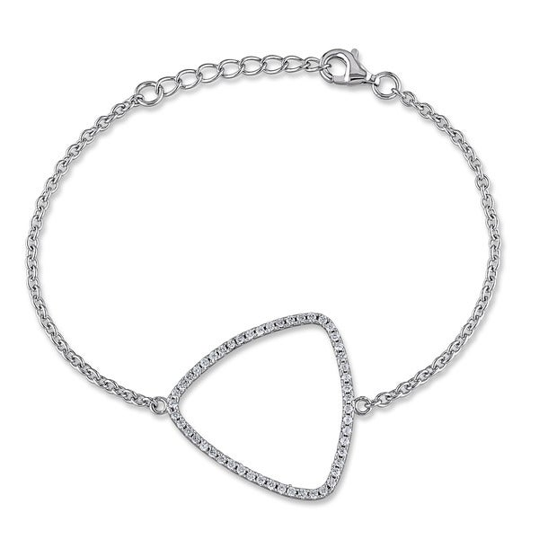 M by Miadora Sterling Silver Cubic Zirconia Chain Bracelet