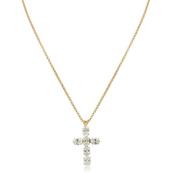 Gioelli 14k Yellow Gold Cubic Zirconia Cross Pendant Necklace