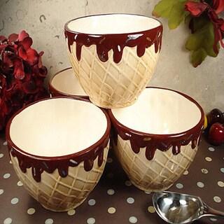 D'Lusso Designs Four Piece Waffle Cone Ceramic Ice Cream Bowl (Set of 4)