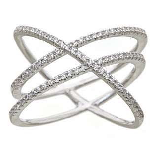 Gioelli Sterling Silver Linear Criss Cross Ring