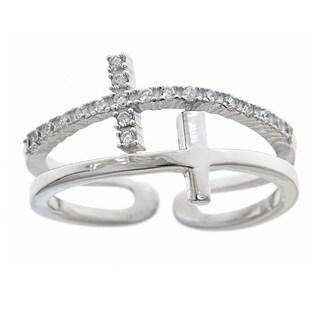 Gioelli Sterling Silver Double Sideways Cross Ring