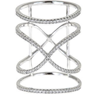 Gioelli Sterling Silver Enlongated Band X Ring