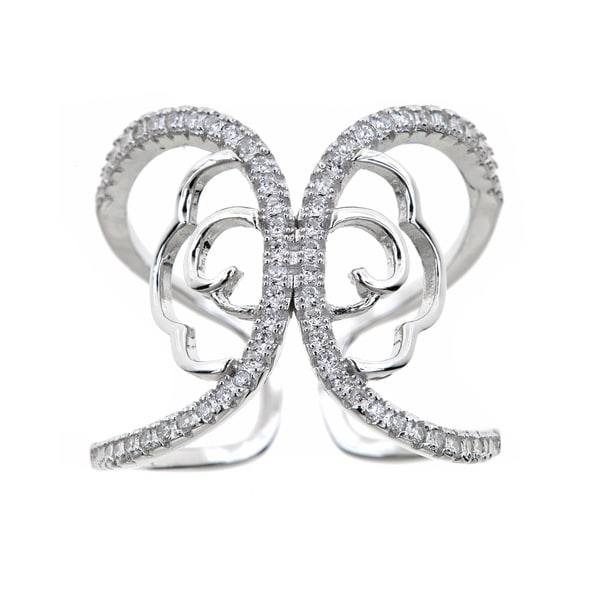 Gioelli Sterling Silver Unique Butterfly Effect Cubic Zirconia Ring