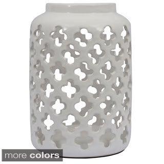 Floral Ceramic Quatrefoil Lantern