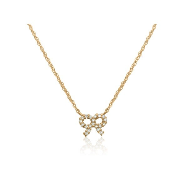 Gioelli 14k Gold Cubic Zirconia Bow Tie Ribbon Chain Necklace