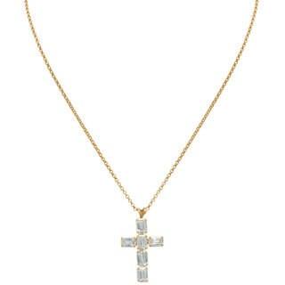 Gioelli 14k Gold Emerald Cut Cubic Zirconia Designer Cross Pendant Necklace