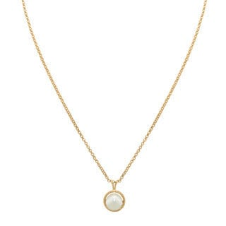 14k Gold 7.5mm Twisted Pearl Pendant Necklace