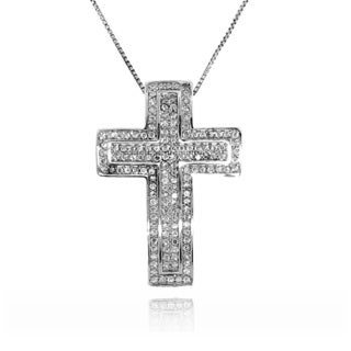 Gioelli Sterling Silver Wave Cubic Zirconia Cross Pendant Necklace