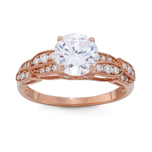 Gioelli 10k Rose Gold Round Cubic Zirconia Designer Ring