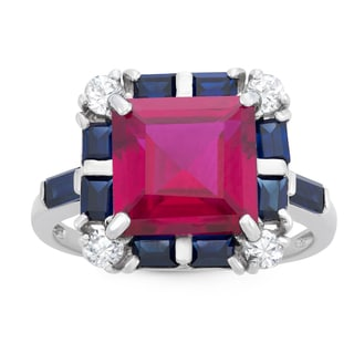 Gioelli Sterling Silver Created Ruby and Created Sapphire Square Shaped Ring