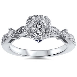 14k White Gold 1ct TDW Cushion-cut Halo Diamond Engagement Ring with Sapphire Accent (I-J, I2-I3)