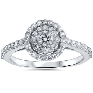 Bliss 10k White Gold 7/8ct TDW Double Round Halo Diamond Ring (H-I, I2-I3)