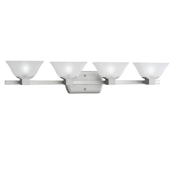 Contemporary 4-light Brushed Nickel Etched Glass Bath Vanity Fixture - 16696698 - Overstock ...