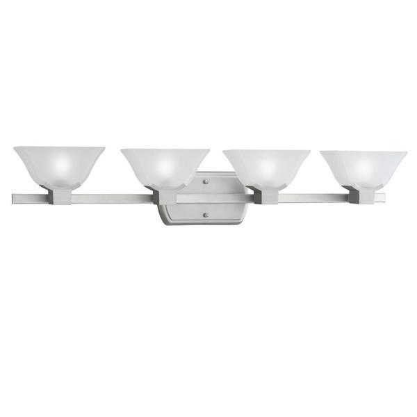 Contemporary Brushed Nickel Vanity Lights : Contemporary 4-light Brushed Nickel Etched Glass Bath Vanity Fixture - 16696698 - Overstock ...