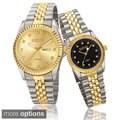 August Steiner His & Her Quartz Diamond Markers Stainless Steel Bracelet Watch Set