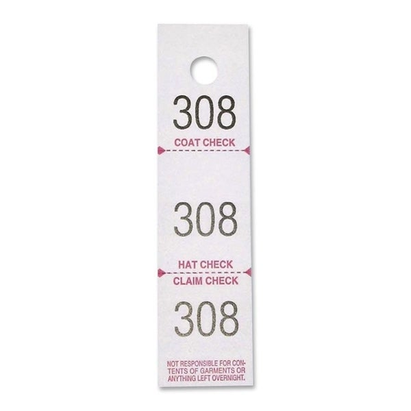 Sparco 3-Part Coat Check Tickets - 500/PK