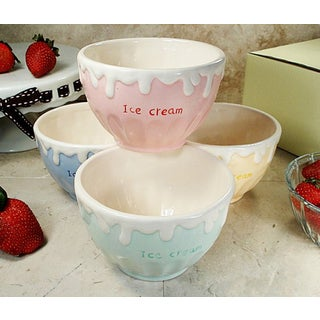 D'Lusso Designs Four Piece Multi Color Ceramic Ice Cream Bowls Set