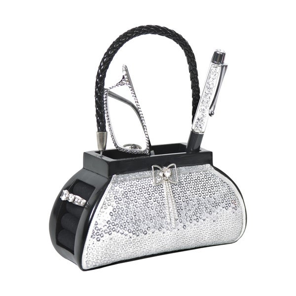 Silver Sequin Purse Accessory Holder
