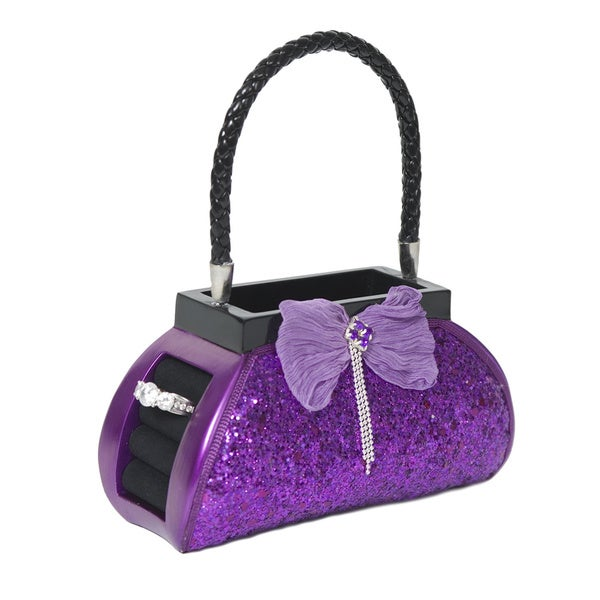 Purple Sequined Purse Accessory Holder