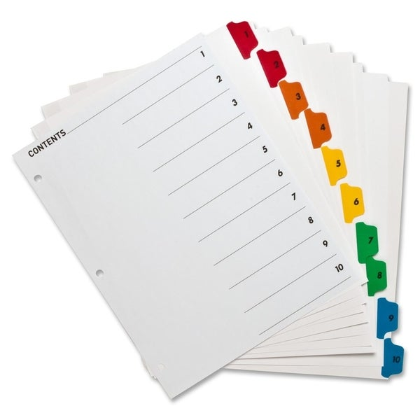 Sparco Color Coded Indexing System (Set of 10)