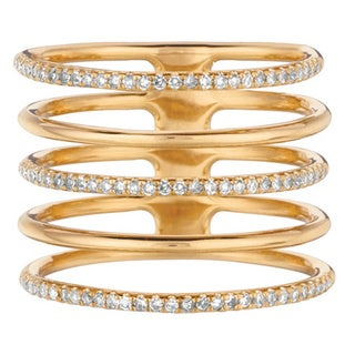 14k Yellow Gold 1/3ct TDW Diamond Multi Row Ring (G-H, I1)
