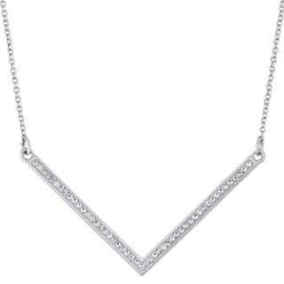 Fine Silver Plate Swarovski Crystal Chevron Pendant Necklace