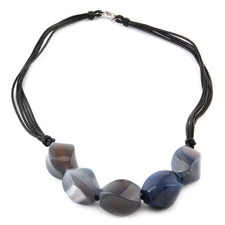 20-inch Round-cut Blue Agate Necklace