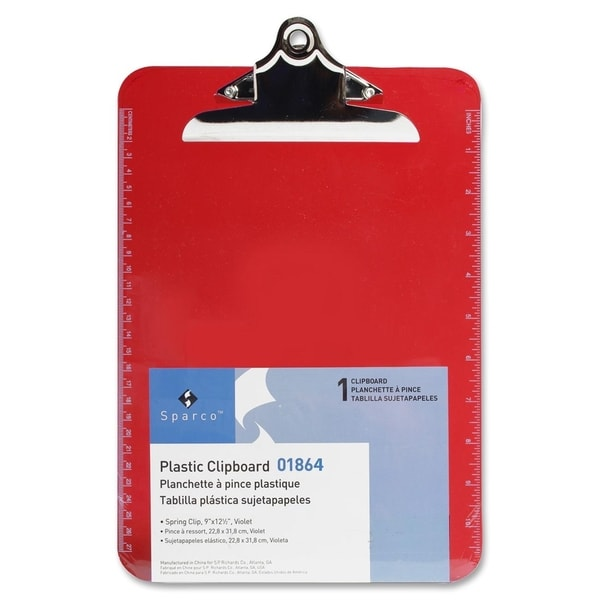Sparco Plastic Clipboards - Each