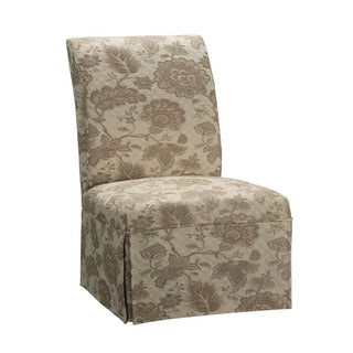 Oh! Home Guinevere Woven Gold with Taupe Floral Pattern Skirted Slip Over Slipcover (Pack of 1)