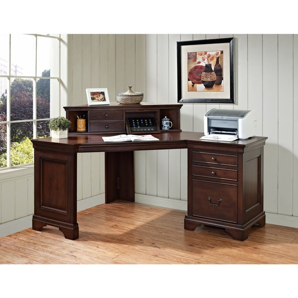 Mulberry 60-inch Corner Computer Desk and Corner Hutch with Charging