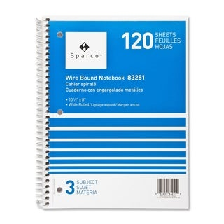 Sparco Quality Wirebound Wide Ruled 3-subject Notebooks