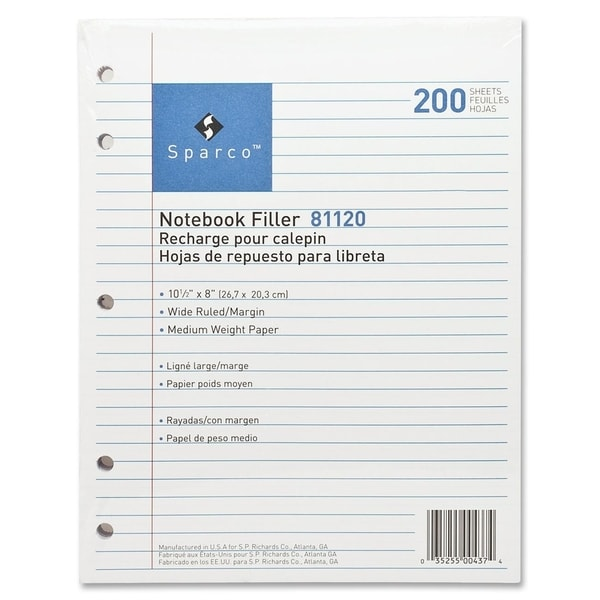 Sparco 5-hole Punched Wide Ruled Filler Paper (Box of 200)