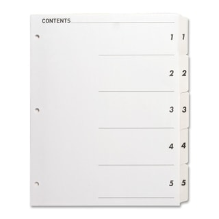 Sparco Quick Index Dividers w/Table Of Cont. Page - 5/ST