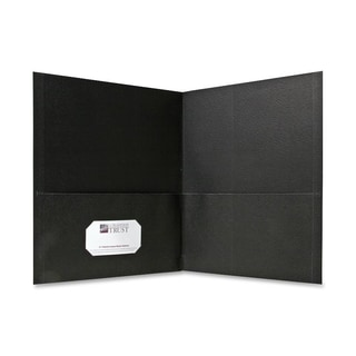 Sparco Black Simulated Leather Double Pocket Folders (Box of 25)