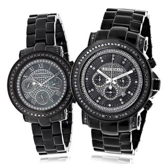 Luxurman Black Diamond His and Hers Watch Set