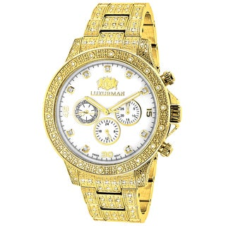 Iced Out Luxurman Men's Yellow Goldplated 1 1/4ct Diamond Watch