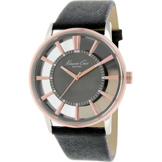 Kenneth Cole Men's KC8046 Black Leather Quartz Watch with Black Dial