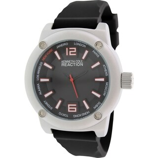 Kenneth Cole Reaction Men's RK1381 Black Silicone Analog Quartz Watch with Black Dial