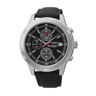 Seiko Men's SKS429 Stainless Steel and Leather Chronograph Watch