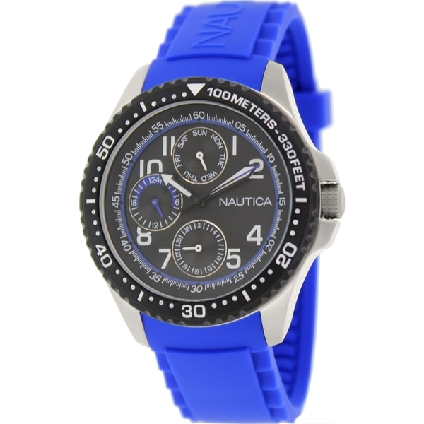 Nautica Men's Nsr 200 N13684G Blue Silicone Quartz Watch with Black Dial