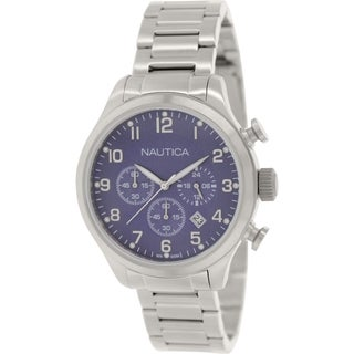 Nautica Men's Bfd 101 N17664G Silver Stainless-Steel Quartz Watch with Blue Dial