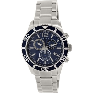 Nautica Men's Nst 09 N16665G Silver Stainless-Steel Quartz Watch with Blue Dial