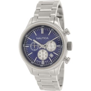 Nautica Men's Nct 14 N20116G Silver Stainless-Steel Quartz Watch with Blue Dial