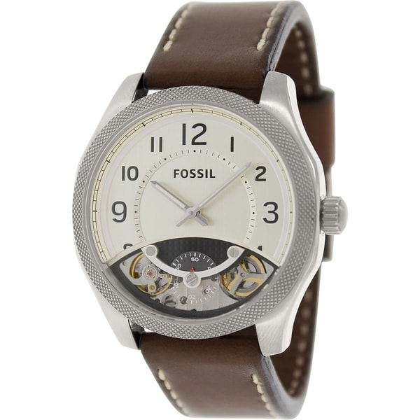 Fossil Men's ME1152 Brown Leather Swiss Quartz Watch with Silver Dial