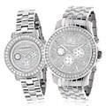 Luxurman Diamond Bezel His and Hers Chronograph Watch Set