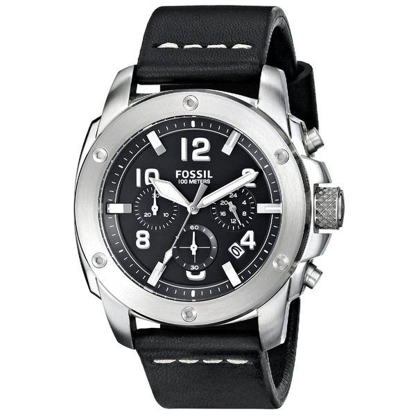 Fossil Men's Modern Machine FS4928 Black Leather Quartz Watch with Black Dial